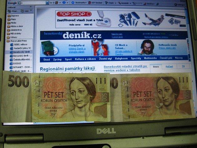 Falešná pětisetkoruna v redakci Benešovského deníku