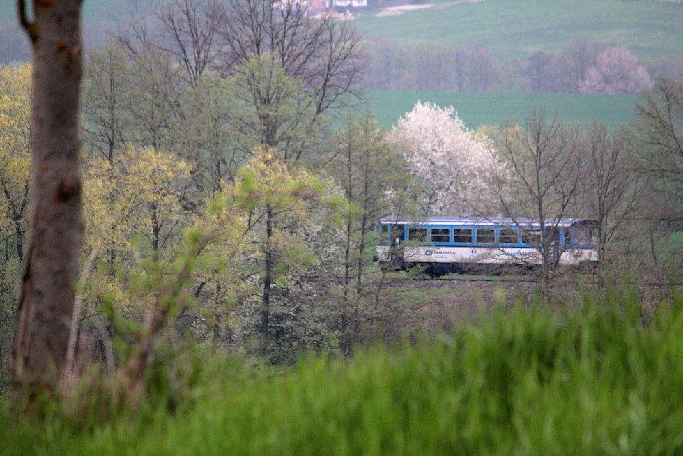 Motorový vlak na trati z Trhového Štěpánova do Benešova.