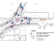 Plánek rekonstrukce křižovatky.