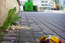 Víkendová rána mohou být kluzká. Zvratky v jedné z nejžívějších ulic, Komenského, nejčastěji odklidí déšť