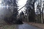Vysoký Chlumec na Příbramsku-dva spadlé stromy přes vozovku.