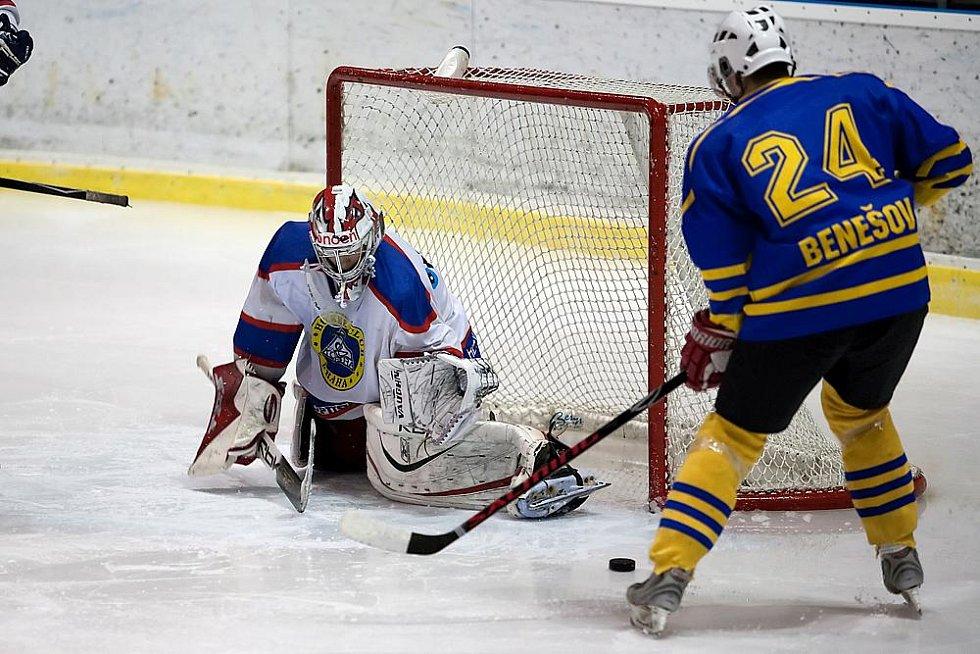 Třetí zápas čtvrtfinále play off II. hokejové ligy Benešov - Kobra Praha 4:1.