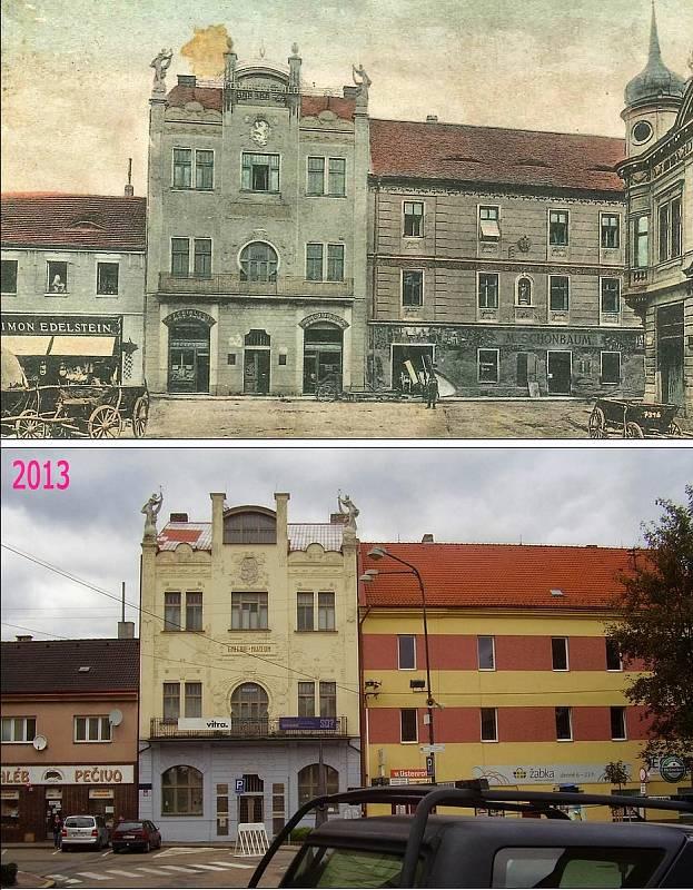 Benešov - Malé náměstí, pohled na současné muzeum umění a designu.