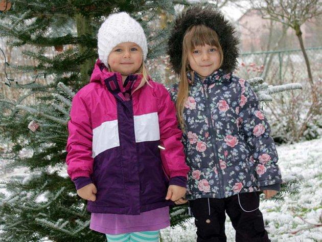Předškolačky Karolínka a Michalka z MŠ Pyšely také ve školce zpívají koledy.