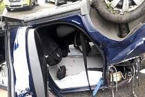 Dopravní nehoda na silnici II/107 u Týnce nad Sázavou.
