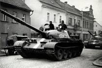 Tank na vlašimském Žižkově náměstí.