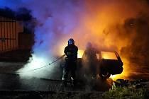 Požár osobního automobilu v Městečku u Nespek.