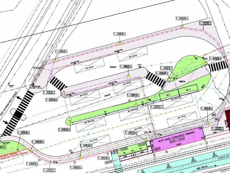 Projekt dopravního terminálu v Týnci nad Sázavou.