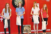 Czech open 2014. Zleva druhá Denisa Dadová, první Vivien Czipó a třetí Anastázia Klochek a Valerie Shvetz.