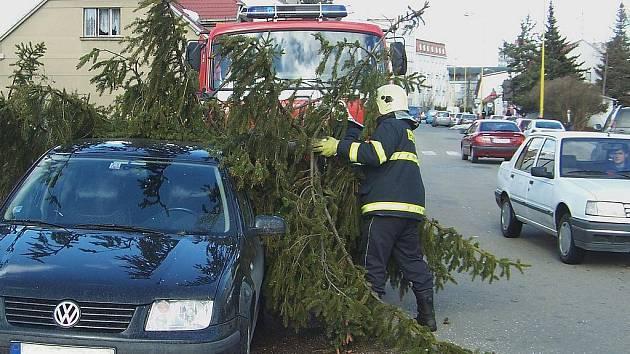 Ve vlašimské Lidické ulici padl dnes, v pondělí 1. března strom na zaparkovaný vůz.