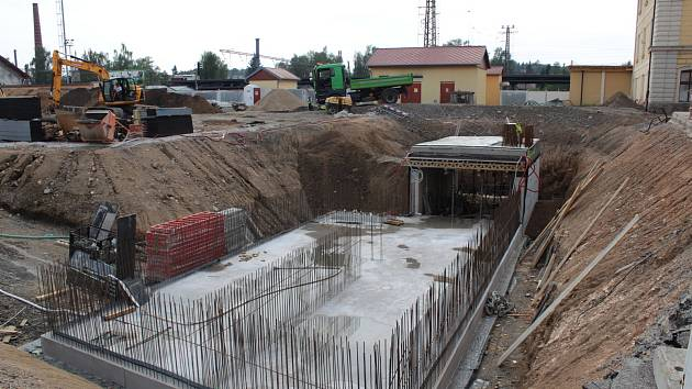 Stavba terminálu v Benešově na konci srpna 2019.