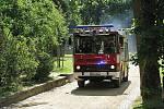 Požár v zámku Konopiště - taktické cvičení hasičských zásahových jednotek.