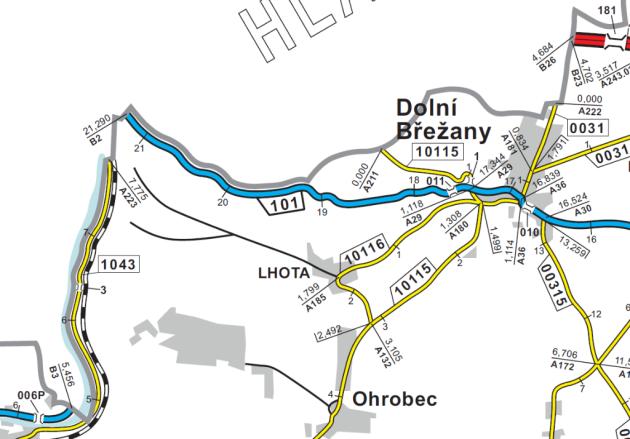 Silnice druhé třídy č. 101zDolních Břežan do Zbraslavi.