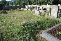 Za touto zdí krhanického hřbitova nesmí v ochranném pásmu padesáti metrů stát žádný rodinný dům.