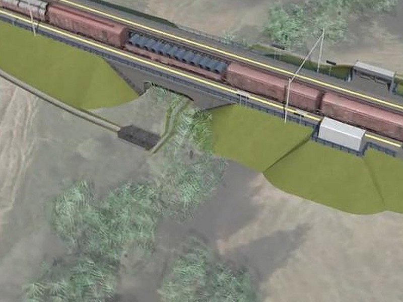 Vizualizace budoucího koridoru mezi Heřmaničkami a Meznem - zastávka Střezimíř.
