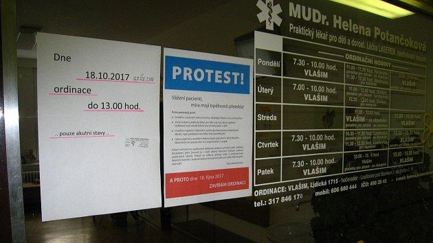 Ve středu 18. října jsou zavřené ordinace praktických lékařů i ve vlašimské poliklinice.