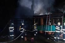 Požár skautské klubovny v Říčanech.