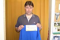 Karel Huptys z Petroupce trefil v 5. kole Jarní Fortuna ligy jediný z tipérů osm utkání z deseti a získal tak stokorunovou poukázku od sázkové kanceláře Fortuna a tričko.