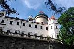 Oprava střechy velké věže zámku Konopiště.