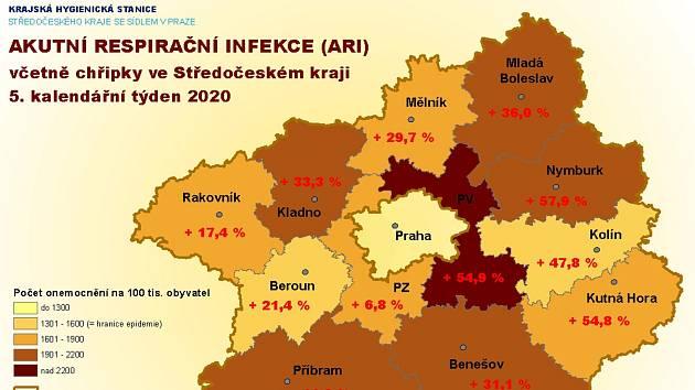 Mapka s nemocností ve středních Čechách v 5. týdnu roku 2020.