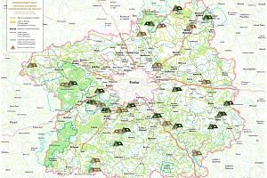 Přehledná mapa kempů ve Středočeském kraji.
