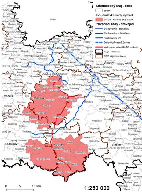 Plánek vodovodního přivaděče podél trasy chystané části dálnice D3.
