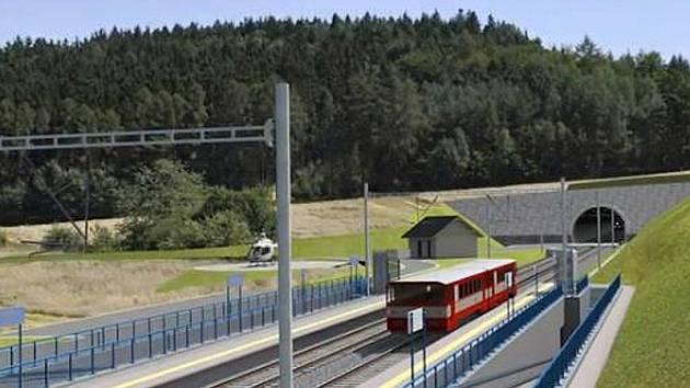 Vizualizace koridoru mezi Heřmaničkami a Sudoměřicemi - zastávka Ješetice a portál tunelu Deboreč.