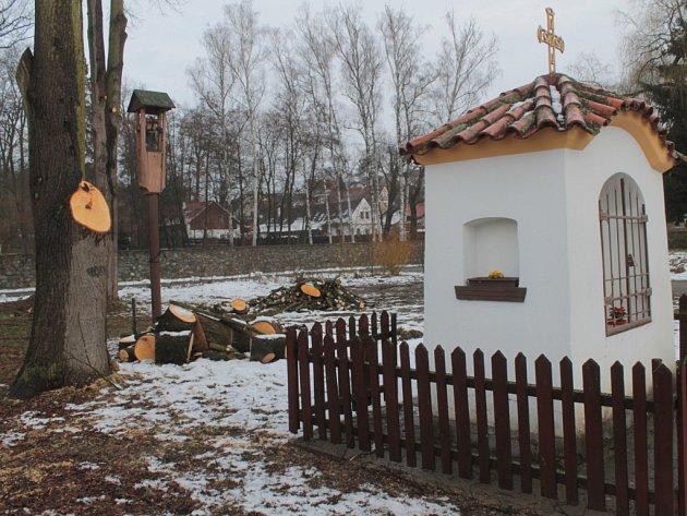 Prořezávání větví lip v Jablonné nad Vltavou dělala odborná firma.