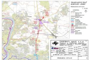 Orientační mapa tramvajové trati Kobylisy - Zdiby