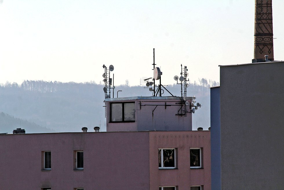 Benešov při pohledu ze střechy kostela sv. Anny.