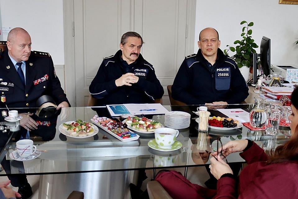 Hejtmanka Jaroslava Pokorná Jermanová se setkala 21. ledna 2020 se zástupci policie.