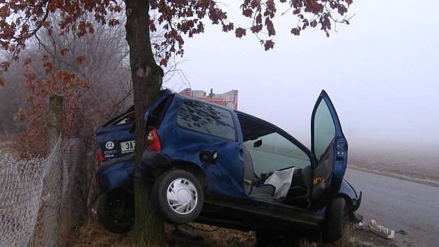 Dopravní nehoda u Netvořic skončila netradičním způsobem. Osobní automobil zaparkoval na stromě