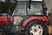 Vykradená traktor ve Šternově.