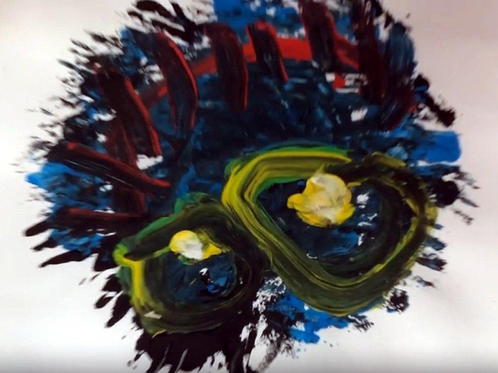 Koronavirus namalovaný Matýskem Kuckem.