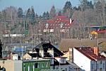 Benešov při pohledu ze střechy kostela sv. Anny - Hotel Benica.