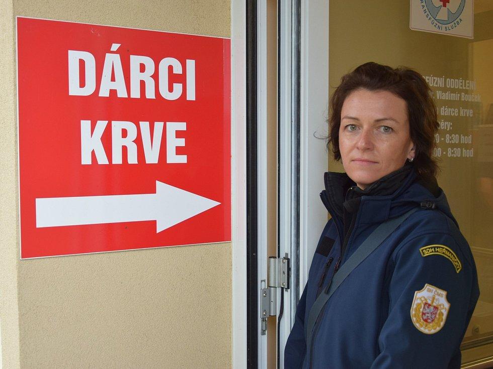 Akce 'Daruj krev - daruj život s hasiči' v benešovské nemocnici.