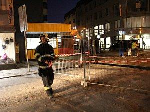 Zásah na staveništi v Tyršově ulici 22. listopadu 2017