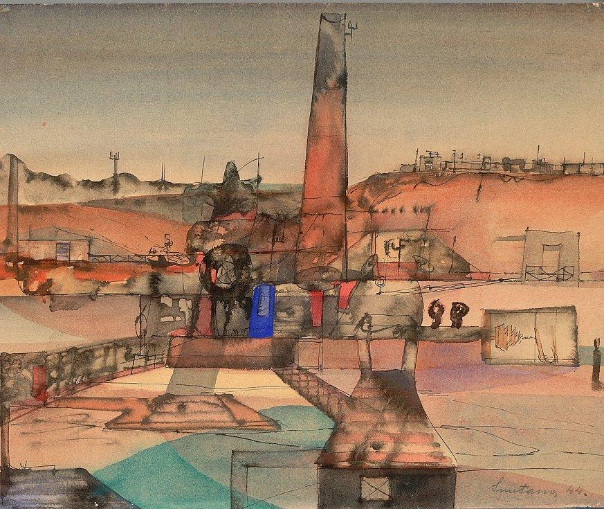 Výstavní program na rok 2018 i doprovodní programy pro letošní rok představila ve čtvrtek Galerie Středočeského kraje v Kutné Hoře – GASK. Na snímku Jan Smetana, Krajina s červenou zemí 1944.