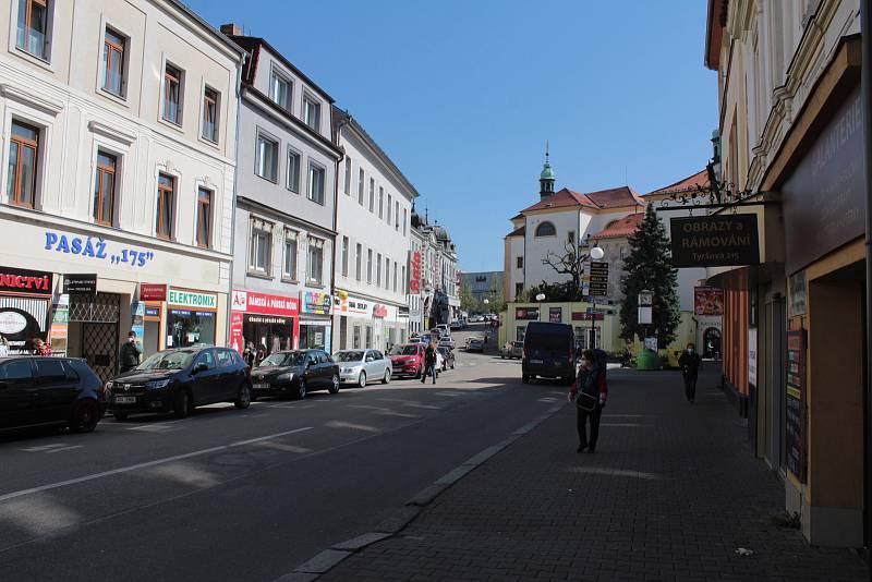 V úterý 21. dubna 2020 dopoledne v centru Benešova.