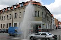 Atrakce, vodotrysk u České pošty, trvala jen několik minut.