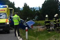 Na silnici I/18 mezi Olbramovicemi a Sedlčany srazilo v úterý 23. června projíždějící vozidlo VW pracovníka stavby vodojemu.
