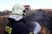 Ilustrační foto - požár hrabanky v lese o rozloze zhruba 70x20 metrů, Dalovy 4. dubna 2019.
