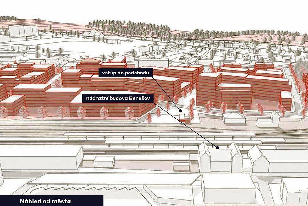 Vizualizace nového části podchodu pod tratí v Benešově.