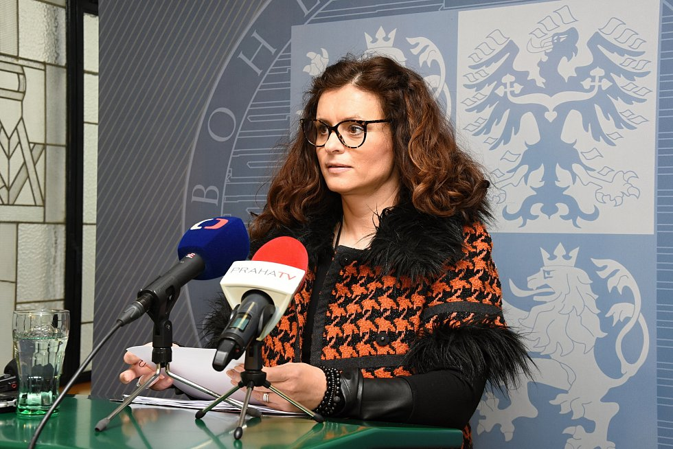 Hejtmanka Středočeského kraje Jaroslava Pokorná Jermanová (ANO) na tiskové konferenci.