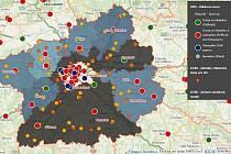 Mapový portál Středočeského kraje - koronavirová situace.