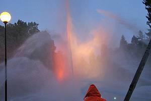 Hasičská fontána v Konopišťském parku.