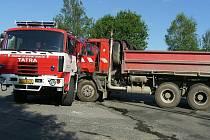 Nehoda dvou automobilů Tatra u Bernartic.