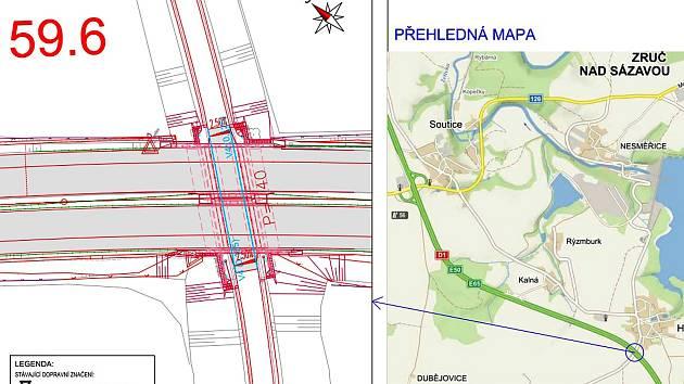 Situační plánek úpravy značení podjezdu pod dálnicí D1 mezi Hulicemi a Sedmpány.