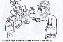 Kreslené vtipy Jiřího Cinkeise a Josefa Pšeničky.
