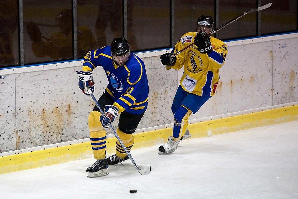 Druhý zápas semifinále play off druhé hokejové ligy Benešov - Jindřichův Hradec 3:4 po samostatných nájezdech